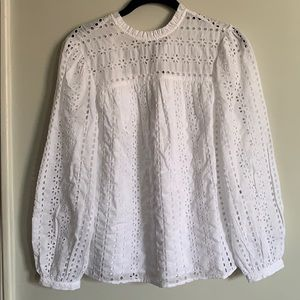 J crew  tie-back top in ditsy eyelet NWT XS